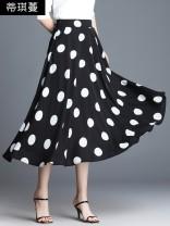 skirt Summer of 2019 M/20,L/21,XL/22,XXL/23,XXXL/24,XXXXL/25 Black wave point , Wavelet points , Peach heart point commute High waist A-line skirt Dot Type A DQM19 - B740 Chiffon Tikiman pocket Korean version
