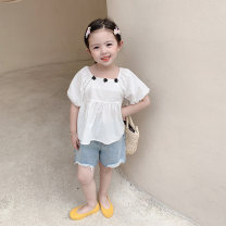 shirt Blue white yojia female 80cm 90cm 100cm 110cm 120cm 130cm 140cm spring and autumn Long sleeves Korean version Solid color other Other 100% 21XC022 Summer 2021