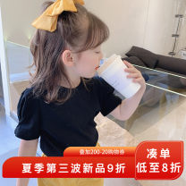 T-shirt Black green yojia 80cm 90cm 100cm 110cm 120cm 130cm 140cm 150cm female summer Short sleeve Crew neck Korean version There are models in the real shooting nothing other Solid color Other 100% 21XD122 other Summer 2021
