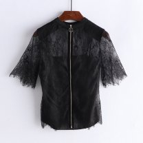 shirt Blue, black Average size Summer 2021 nylon 96% and above Short sleeve commute Regular stand collar zipper routine Solid color 25-29 years old Straight cylinder Lace nylon