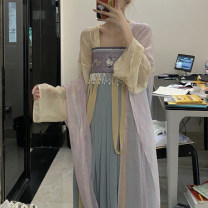 National costume / stage costume Spring 2021 Shangru + xiaskirt + Hezi (dark blue), 5 yuan for collection plus purchase, 10 yuan for new products S,M,L 18-25 years old Tencel 91% (inclusive) - 95% (inclusive)