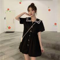 Dress Summer 2021 Black [small gift from collection store], white [small gift from collection store], sling S,M,L,XL,2XL Mid length dress singleton  Short sleeve Sweet Admiral stripe A-line skirt Princess sleeve Others 18-24 years old Type A Button, stitching 31% (inclusive) - 50% (inclusive) other