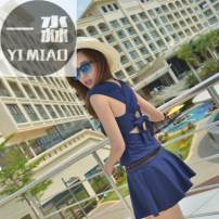 one piece  Tianhai Shijian XXL,M,XL,L navy blue Skirt one piece With chest pad without steel support spandex female Sleeveless Casual swimsuit