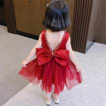 Dress female Other / other Other 100% summer princess Suspender skirt / vest skirt Netting Solid color Princess Dress 0502242685335 Class B 12 months, 18 months, 2 years old, 3 years old, 4 years old, 5 years old, 6 years old, 7 years old Chinese Mainland Shanghai Apricot, wine red