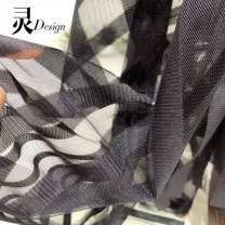Fabric / fabric / handmade DIY fabric Netting Black half rice price cannot be cut Loose shear piece stripe printing and dyeing clothing Europe and America Other / other