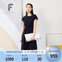 Dress Summer 2020 Dark ultramarine blue 160/80A/S 160/84A/M 165/88A/L Mid length dress singleton  Short sleeve commute Crew neck Elastic waist Solid color Socket Irregular skirt routine Others 25-29 years old Type A FUUNNY FEELLN Simplicity Fold asymmetry FF00303 81% (inclusive) - 90% (inclusive)