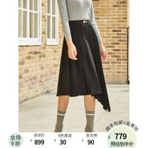 skirt Spring 2020 S M L black Mid length dress commute Natural waist A-line skirt Solid color Type A 25-29 years old 71% (inclusive) - 80% (inclusive) FUUNNY FEELLN polyester fiber Asymmetry Same model in shopping mall (sold online and offline)