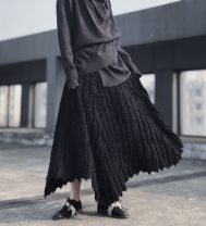 skirt Winter of 2019 Average size black Mid length dress commute High waist A-line skirt Solid color Type A 18-24 years old 71% (inclusive) - 80% (inclusive) cotton Simplicity