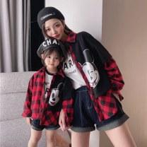 Parent child fashion gules Women's dress Female, male, neutral A032 spring and autumn Korean version routine lattice shirt cotton M Cotton 95% other 5% Class B 12 months, 18 months, 2 years old, 3 years old, 4 years old, 5 years old, 6 years old, 7 years old, 8 years old, 9 years old Chinese Mainland