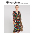 Dress Autumn of 2019 L739 0 2 4 6 longuette singleton  Long sleeves commute V-neck middle-waisted Decor Socket A-line skirt routine 25-29 years old Alice&Olivia printing CC909B44516 31% (inclusive) - 50% (inclusive) silk Viscose (viscose) 59% Silk 41%