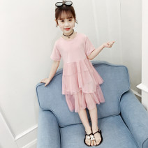 Dress Pink female Wonderful Barbie 100 110 120 130 140 Other 100% summer Korean version Short sleeve Solid color cotton A-line skirt Class B Summer 2020 Three years old, four years old, five years old, six years old, seven years old, eight years old, nine years old Chinese Mainland