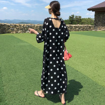 Dress Summer of 2019 black S M L XL Mid length dress singleton  elbow sleeve commute Crew neck Loose waist Dot Socket A-line skirt routine Others 18-24 years old Type H Yi Mengna Korean version backless More than 95% Chiffon polyester fiber Polyester 100% Pure e-commerce (online only)