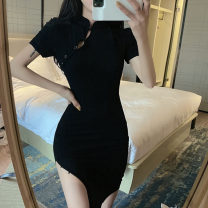 Dress Summer 2021 black S M L Mid length dress singleton  Short sleeve commute stand collar High waist Solid color Three buttons routine Others 25-29 years old Type X North wind drum Retro 83858# More than 95% other Other 100% Pure e-commerce (online only)