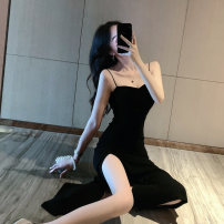 Dress Summer 2020 Pink Black Purple MINT S M L Mid length dress singleton  Sleeveless commute One word collar High waist Solid color Socket One pace skirt camisole 25-29 years old North wind drum fold RIJX36943 More than 95% other Other 100%