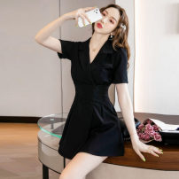 Dress Summer 2021 Khaki black S M L XL 2XL Short skirt singleton  Short sleeve tailored collar High waist Solid color double-breasted routine Others 25-29 years old Type A North wind drum zipper More than 95% other Other 100% Pure e-commerce (online only)
