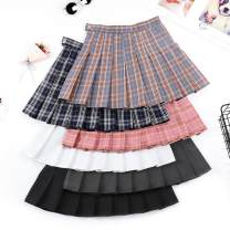 skirt Summer of 2019 S 64cm,M 68cm,L 72cm,XL 76cm,2XL 80cm Short skirt Versatile High waist Pleated skirt lattice Type A 18-24 years old xmm-1938 other Other / other Fold, zip, splice 201g / m ^ 2 (including) - 250G / m ^ 2 (including)