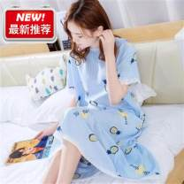 Nightdress Other / other Blue pineapple with long skirt, orange flower with long skirt, gray pineapple with long skirt, pink pineapple with long skirt L [recommended 120 kg], XL [recommended 120-150 kg] Simplicity Short sleeve pajamas longuette summer Dot youth Crew neck viscose  printing