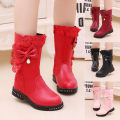 Boots / snow boots other female 27 28 29 30 31 32 33 34 35 36 37 38 39 rubber winter Cotton / wool boots High Boots Flat heel Leather stitching Round head PU children Winter of 2019