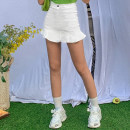 skirt Summer 2020 XS,S,M,L Black, white Short skirt Versatile High waist Ruffle Skirt Solid color Type A 18-24 years old JSG193AE87 More than 95% other ORANGEA polyester fiber Lotus leaf edge 40g / m ^ 2 and below