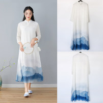 Dress Spring of 2019 Landscape painting S,L,M,XL longuette singleton  three quarter sleeve stand collar middle-waisted Hand painted Socket Big swing routine Others 25-29 years old 11 countries tie-dyed 9CL2107 other polyester fiber
