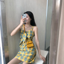 Dress Summer 2020 Picture color S M L XL Short skirt singleton  commute One word collar High waist lattice Socket A-line skirt camisole 18-24 years old Type A Korean version bow More than 95% polyester fiber Polyester 100% Pure e-commerce (online only)
