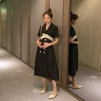 Dress Terry Kennedy black M,L,XL,XXL Korean version Short sleeve Medium length summer Lapel Solid color polyester fiber