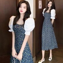 Women's large Summer 2021 Picture color S M L XL Dress singleton  commute easy moderate Socket Short sleeve Broken flowers Korean version square neck Medium length puff sleeve TTT-0011559 Sanskrit vine 18-24 years old backless longuette Other 100% Pure e-commerce (online only) other