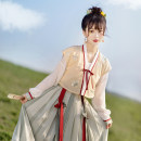 Hanfu 30% and below Summer 2021 The second batch of tangbeizi + T-shirt + pleated skirt (three piece set) will be issued successively from May 20. The third batch of tangbeizi + T-shirt + pleated skirt (three piece set) will be issued successively from May 25 S M L spandex