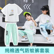 suit 110cm 120cm 130cm 140cm 150cm 160cm neutral summer leisure time Short sleeve + pants 2 pieces Thin money There are models in the real shooting Socket nothing Solid color cotton children Learning reward Class B Cotton 100% Spring 2021 Chinese Mainland Jiangsu Province Suzhou