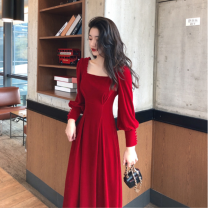 Dress Winter 2020 Red, black S,M,L,XL longuette singleton  Long sleeves commute square neck High waist Solid color zipper other routine Others Type A Korean version LS080