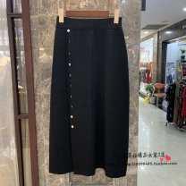 skirt Autumn of 2019 Average size black Mid length dress High waist Irregular Solid color Type A