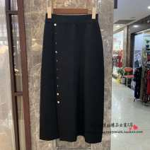 skirt Autumn of 2019 Average size black Mid length dress High waist Irregular Solid color Type A