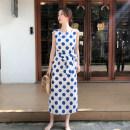 Dress Summer 2020 Om027 blue S,M,L,XL Mid length dress singleton  Sleeveless commute Type H Other / other Korean version OM027 Chiffon