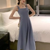 Dress Summer 2020 Long dress, short dress S,M,L,XL longuette singleton  Sleeveless commute One word collar High waist Solid color Socket A-line skirt other camisole 25-29 years old Type A Korean version WN003470 81% (inclusive) - 90% (inclusive)