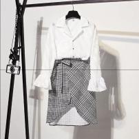 Fashion suit Spring of 2018 S,M,L,XL Black shirt + plaid skirt, white shirt + plaid skirt