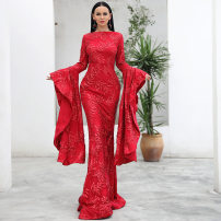 Dress Autumn of 2019 claret S,M,L,XL longuette singleton  Long sleeves Crew neck High waist Solid color zipper Big swing Flying sleeve Others 25-29 years old zipper FT18462 30% and below other other