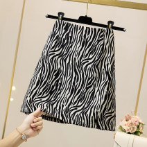 skirt Summer 2021 L (recommended 100-120 kg), XL (recommended 120-140 kg), 2XL (recommended 140-160 kg), 3XL (recommended 160-180 kg), 4XL (recommended 180-200 kg) Black leopard print Middle-skirt Versatile High waist A-line skirt Leopard Print Type A 18-24 years old 9—26 30% and below other