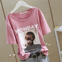 T-shirt Monday white, Monday yellow, Monday pink, Monday black, Monday blue M,L,XL,2XL,3XL,4XL Summer 2021 Short sleeve Crew neck easy Regular routine commute cotton 96% and above 18-24 years old Korean version youth character printing