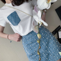skirt Summer 2021 XS,S,M,L,XL White, blue, white T-shirt + blue skirt suit Short skirt Versatile High waist A-line skirt Solid color Type A 18-24 years old FY19B8608 Other / other cotton