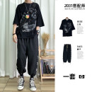 T-shirt Youth fashion 1297 ghost suit, 1287 head black suit, 1287 hands black suit, 1287 head white suit, 1287 hands white suit, 1288 comic man smoking white suit routine Others Short sleeve Crew neck easy Other leisure summer 1297 suit youth tide 2021 other printing Creative interest Non brand