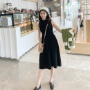 Dress Winter of 2019 Apricot black S M L XL Mid length dress singleton  Sleeveless commute Half high collar middle-waisted Solid color Socket A-line skirt routine straps 18-24 years old Type A Korean version A8822 71% (inclusive) - 80% (inclusive) nylon Polyamide (nylon) 80% other 20%