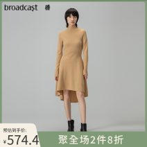 Dress Winter 2020 XS S M L XL Mid length dress singleton  Long sleeves commute other Solid color Socket A-line skirt raglan sleeve 25-29 years old Type X Broadcast / broadcast literature Asymmetry 81% (inclusive) - 90% (inclusive) wool Same model in shopping mall (sold online and offline)