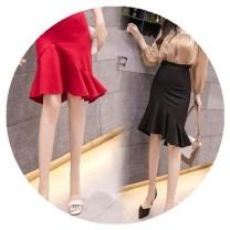 skirt Summer of 2019 XL,L,M,XXXL,S,XXL Red, black Middle-skirt Versatile High waist skirt Type A 25-29 years old j2DSQfyC Other / other