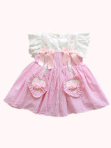 Dress D53 Pink female Bijiaxiong 73cm 80cm 90cm 100cm 110cm Other 100% summer princess Short sleeve Solid color cotton A-line skirt A562 Class A Spring 2021 12 months, 6 months, 9 months, 18 months, 2 years old Chinese Mainland Guangdong Province Shenzhen City