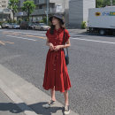 Dress Summer of 2019 Picture color blue S M L Mid length dress singleton  Short sleeve commute Polo collar Loose waist Solid color Single breasted Big swing raglan sleeve Others 18-24 years old Type H An imperial concubine Retro More than 95% Chiffon other Other 100% Pure e-commerce (online only)