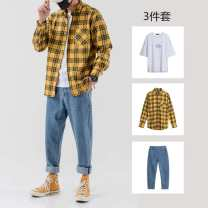 shirt Youth fashion TZTP S M L XL 2XL 3XL 4XL C820 Yellow + k809 pants c820 Yellow + k809 pants + T-shirt c820 white + k809 c820 white + k809 + T-shirt c820 Red + k809 c820 Red + k809 + T-shirt 820 yellow single clothes 820 white single clothes 820 red single clothes routine Pointed collar (regular)