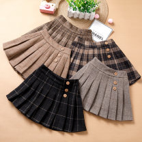 skirt 105cm 110cm 120cm 130cm 135cm 140cm 145cm 150cm 160cm Hemidor female Other 100% skirt Korean version lattice Pleats Cotton blended fabric hm2020 Class B Spring 2020