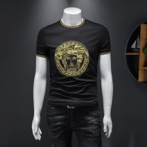 T-shirt Youth fashion White, black, black velvet routine M,L,XL,2XL,3XL,4XL,5XL Versace solid Long sleeves stand collar standard daily summer Versace men's short sleeve teenagers routine tide other 2021 Embroidered logo cotton other