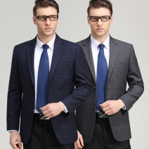 man 's suit Others Fashion City routine Wool 65% polyester 35% standard Double breasted go to work Back middle slit middle age Long sleeves spring routine Business Casual Casual clothes Flat lapel Straight hem lattice Regular collar (collar width 7-9cm) 2019 Three dimensional bag No iron treatment