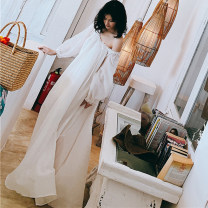 Nightdress Off white, white 155(S),160(M),165(L),170(XL) luxurious Long sleeves pajamas longuette autumn Solid color youth Crew neck silk lace Less than 20% silk 200g and below